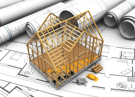 housing project: 3d illustration of wooden house frame and floor insulation