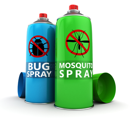 family gardening: 3d illustration of bug and mosquito spray bottles