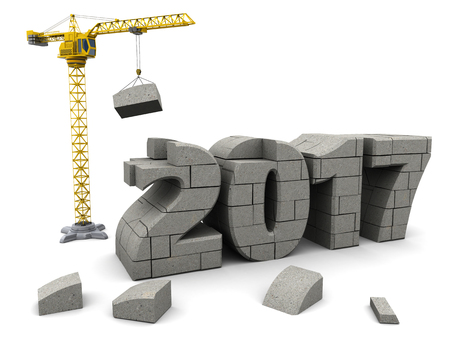 cranes: abstract 3d illustration of crane building new year 2017