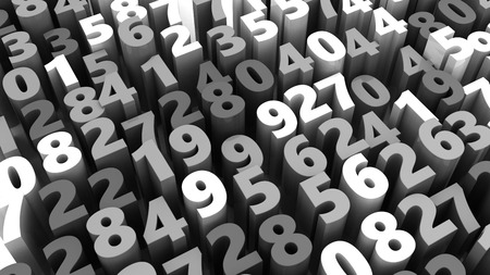 numbers abstract: abstract 3d illustration of random numbers background