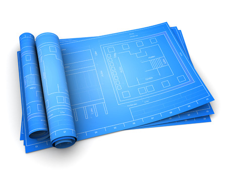 3d illustration of rolled blueprints of building, over white background Stock Photo