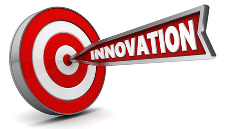 hit: 3d illustration of arrow with sign innovation hit target Stock Photo