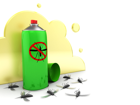 3d illustration of insecticide spray kills mosqutos