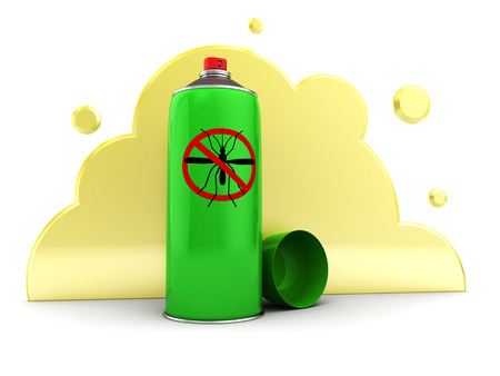 pest control equipment: 3d illustration of mosquito spray and yellow poison cloud