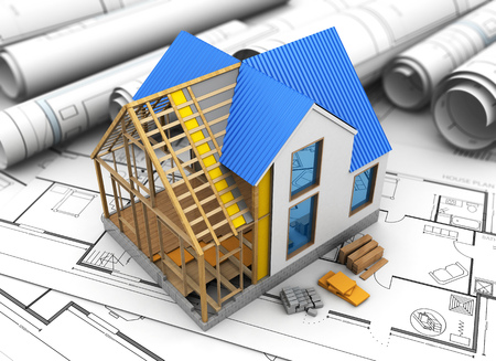 housing project: 3d illustration of house structure model over blueprints background Stock Photo