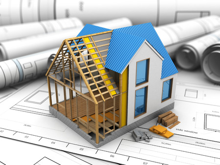 housing project: 3d illustration of frame house structure design over blueprints background Stock Photo