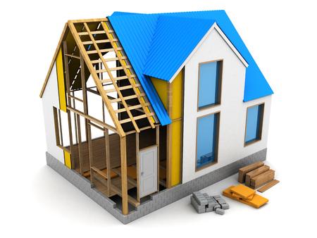 construction materials: 3d illustration of frame house structure design