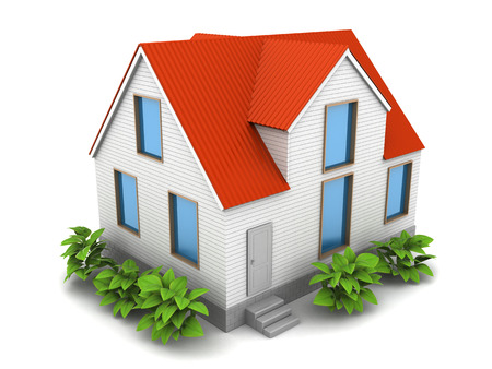 3d illustration of cosy house over white background