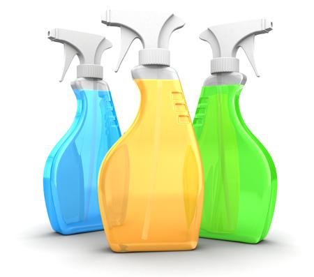 3d illustration of three spray bottles over white background
