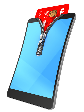 nfc: 3d illustration of mobile phone with zipper and credit card