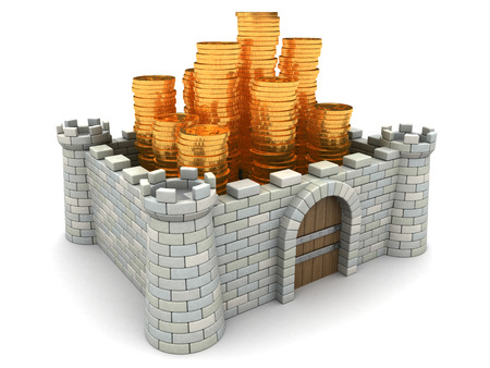 fortification: 3d illustration of fortress full of golden coins