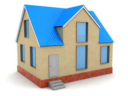 yellow roof: 3d illustration of house with blue roof and brown walls
