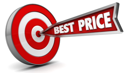 price hit: 3d illustration of arrow with sign best price hit target