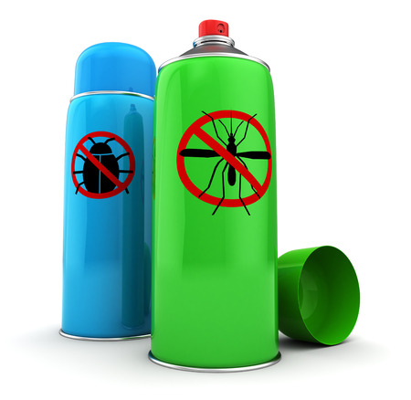 3d illustration of bug and mosquito spray bottles
