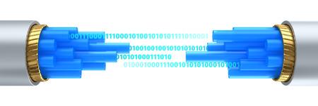 fiber optics: 3d illustration of difital data stream inside fiber optics cable