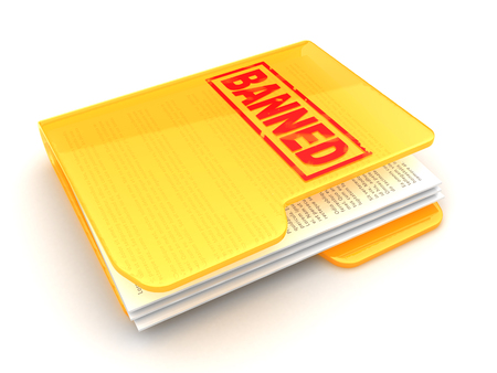 carpeta: 3d illustration of folder icon with banned sign on it Foto de archivo