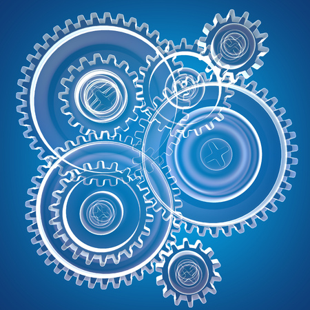 metal drawing: abstract 3d illustration of transparent gear wheels over blue background
