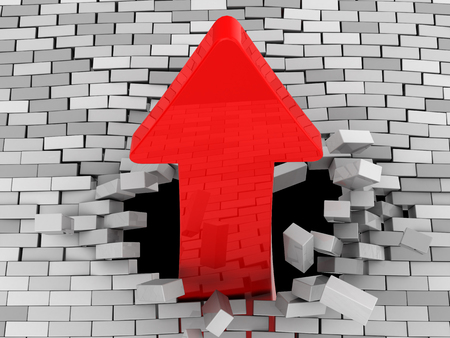 3d illustration of red arrow breaking brick wall