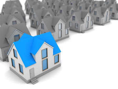 choices: 3d illustration of house choice concept