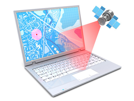 3d illustration of location tracking with laptop and gps Фото со стока