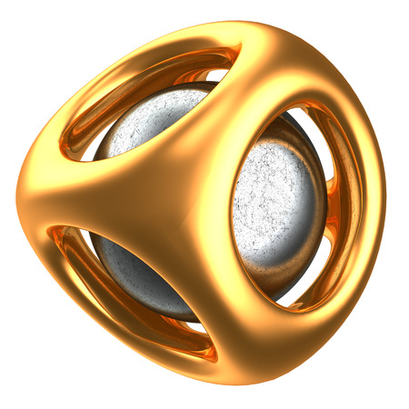metal structure: abstract 3d illustration of golden structure with metal sphere inside Stock Photo