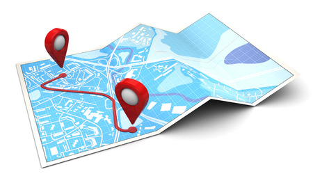 3d illustration of map with route plan Stock Photo