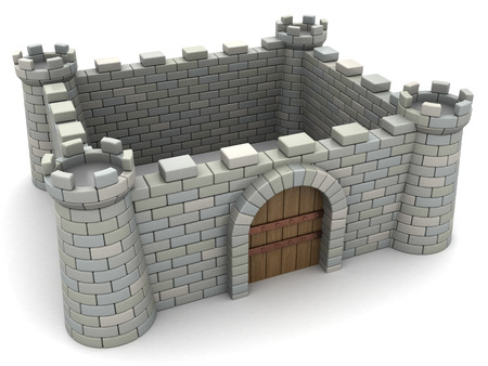 fortification: 3d illustration of fortress wall with empty space inside Stock Photo