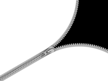 unbuttoned: 3d illustration of zipper opening with black color inside