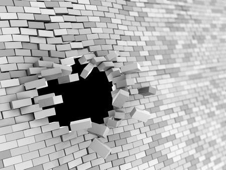 broken wall: abstract 3d illustration of brick wall hole crash Stock Photo