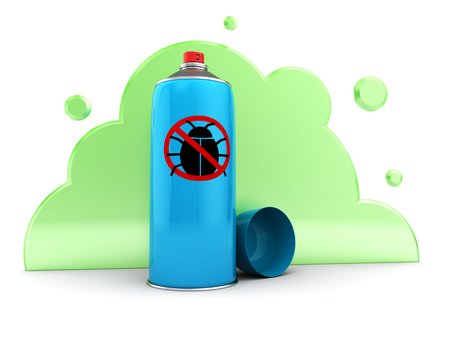 3d illustration of bug spray and cloud
