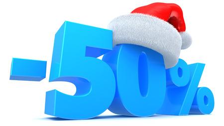 christmas sale: 3d illustration of Christmas sale 50 percent discount symbol