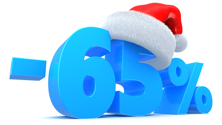 3d illustration of 65 percent Christmas sale discount Stock Photo