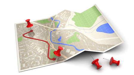 poi: 3d illustration of map and pins - route planning concept
