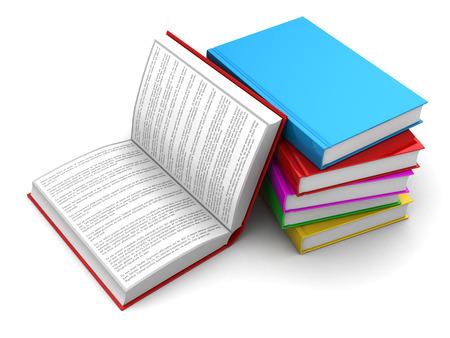 3D-afbeelding van boeken, een geopend met Lorem ipsum tekst