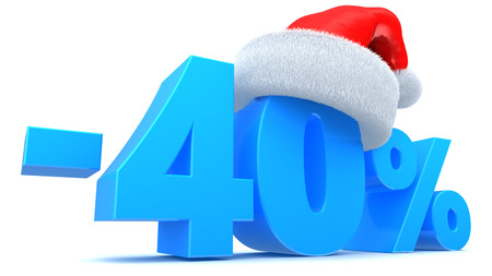 3d illustration of Christmas sale 40 percent discount Stock Photo