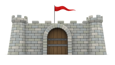 3d illustration of 3d fortress with red flag, over white background. Front view Stockfoto