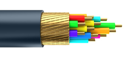 3d illustration of data cable inside structure, isolated over white