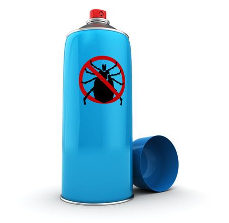 pest control equipment: 3d illustration of tick spray bottle over white background Stock Photo