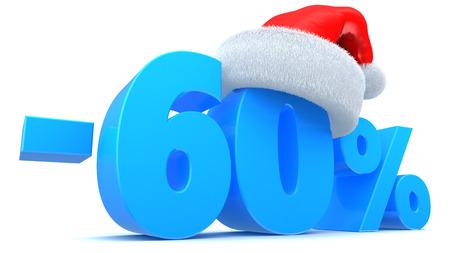 3d illustration of Christmas sale 60 percent discount