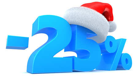3d illustration of 25 percent Christmas sale symbol with red hat