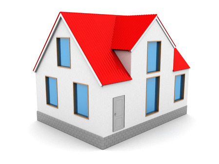 red roof: 3d illustration of house with red roof, over white background Stock Photo