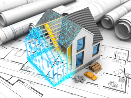 housing project: 3d illustration of house model with frame and inside structure