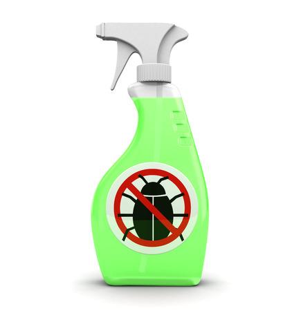 envases plasticos: 3d ilustración de la botella de plástico con repelente de insectos en el interior