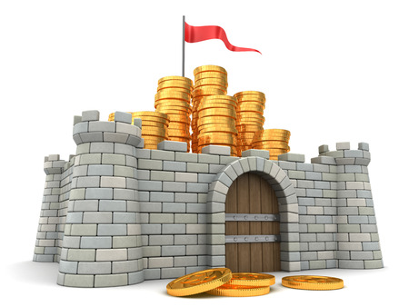 fort: 3d illustration of golden coins heap and fortress
