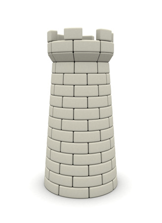 fortress: 3d illustration of bricks tower over white background
