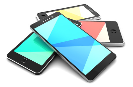 multiple choice: 3d illustration of mobile phones heap over white background