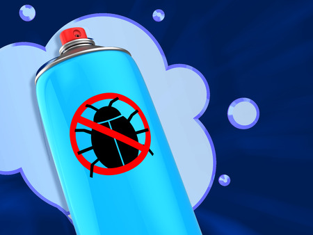 pest control equipment: 3d illustration of anti bug spray over blue background Stock Photo