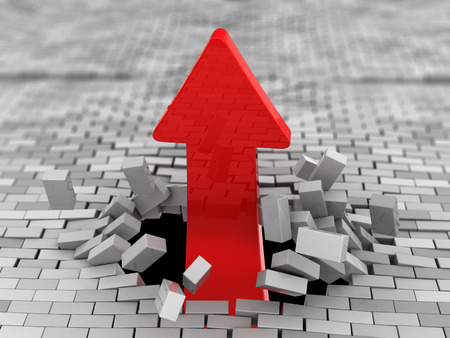 business focus: 3d illustration of upward red arrow breaking brick wall