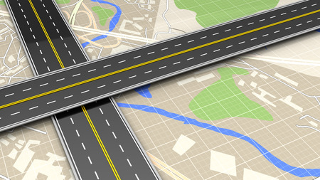 two roads: 3d illustration of roads cross over map background