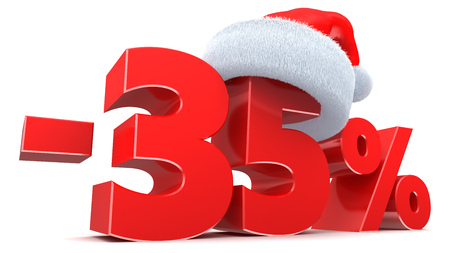 3d illustration of Christmas sale discount 35 percent